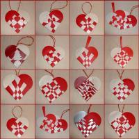 Бумажные сердечки на ёлку